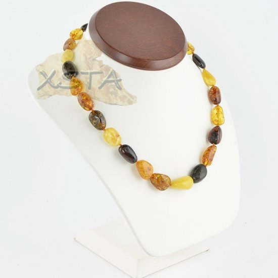 Amber necklace multicolour polished olive