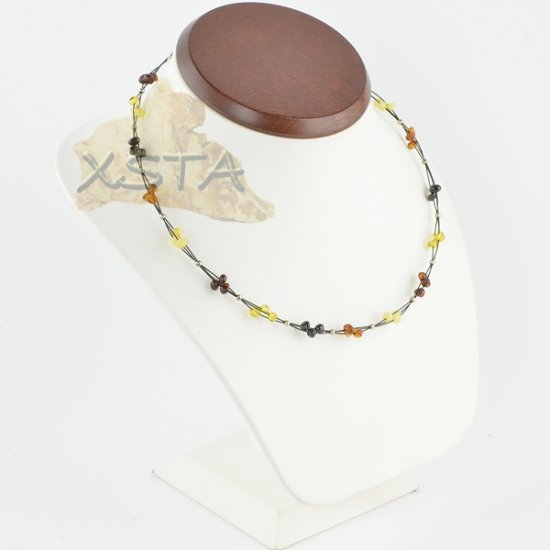 Amber necklace polished baroque with wire