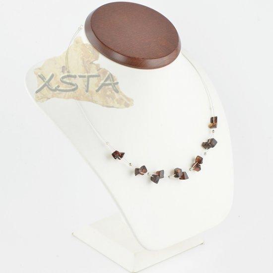Amber necklace polished cherry irregular