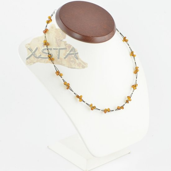 Amber necklace polished cognac baroque with wire