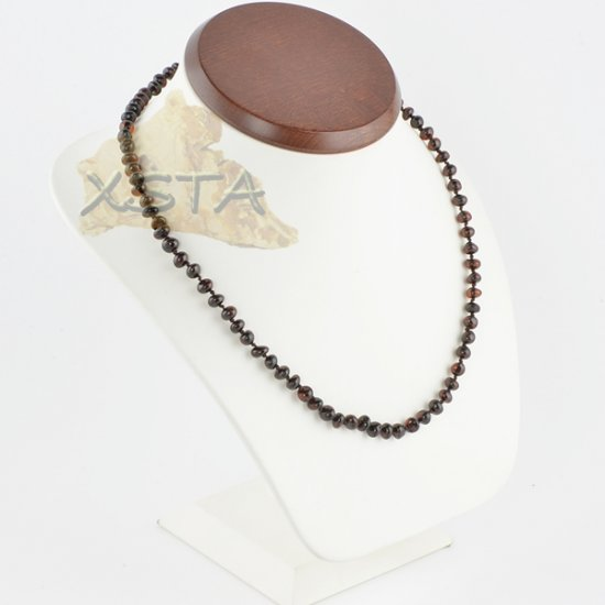 Amber necklace polished dark cherry baroque