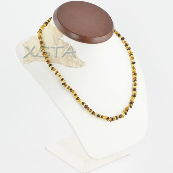 Amber necklace polished multicolour baroque