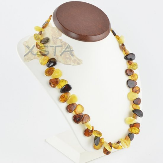 Amber necklace polished multicolour leaves