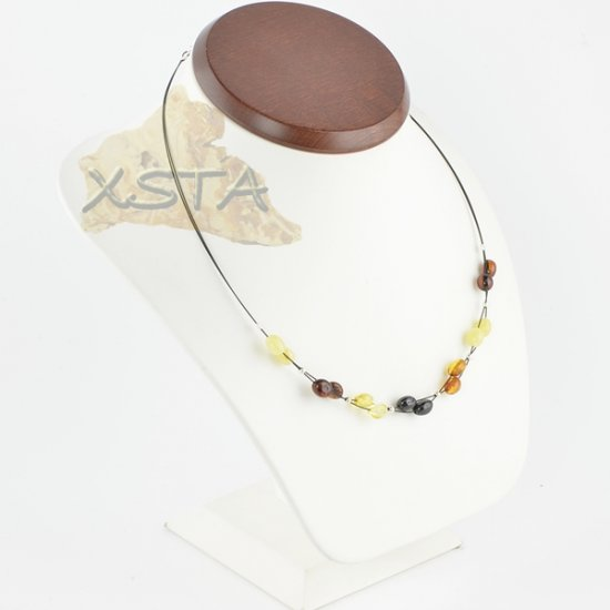 Amber necklace polished olive with wire