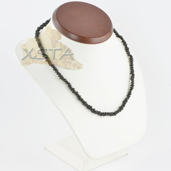 Amber necklace raw black color