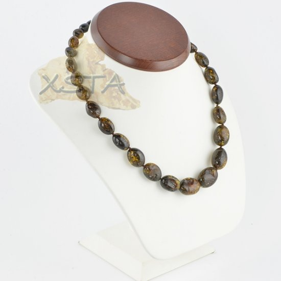 Amber necklaces polished green olive