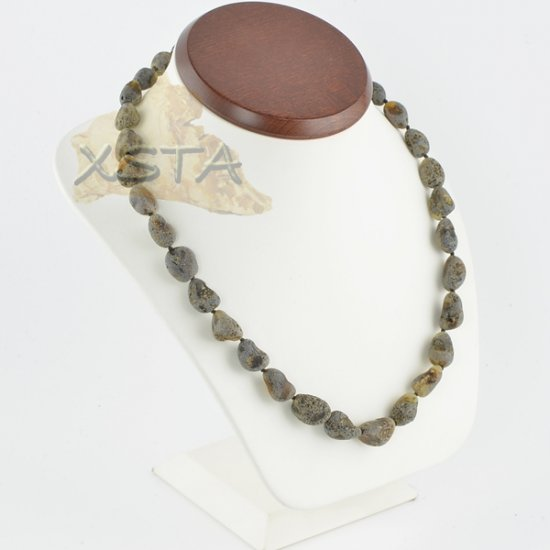 Amber raw necklace green olive