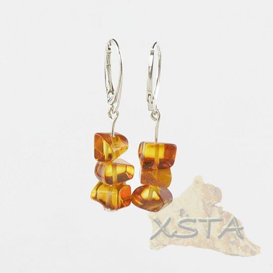 Baltic amber earrings cognac color