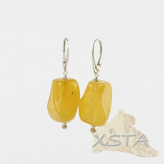Baltic amber earrings for women chunky beads