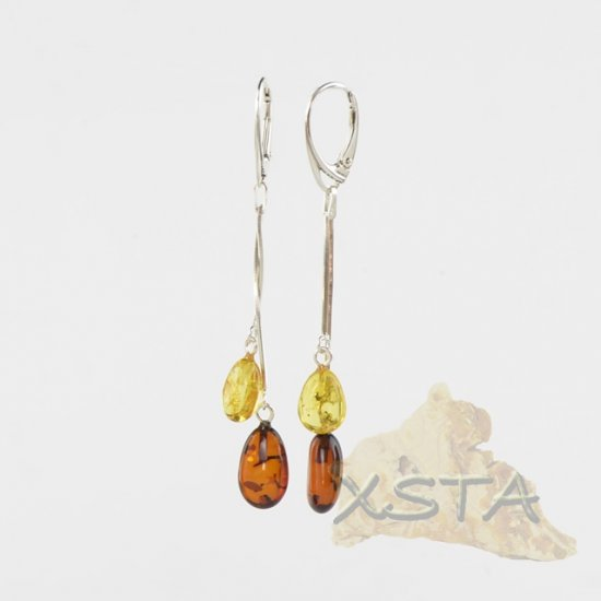 Baltic amber earrings with silver