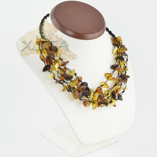 Baltic amber necklace polished chips string