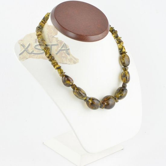 Baltic amber necklaces polished green