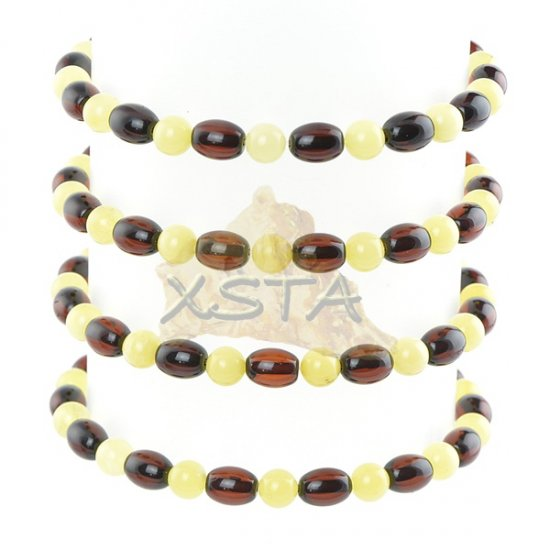 Baltic amber round tube cherry beads bracelet