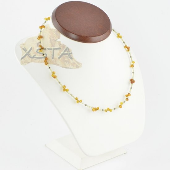 Baroque amber necklace cognac with wire