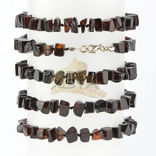 Cherry amber bracelet with silver clasp