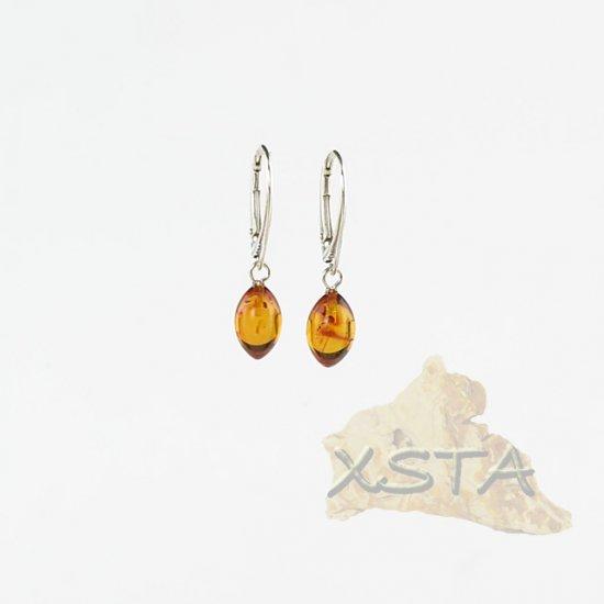 Drop cognac amber earrings