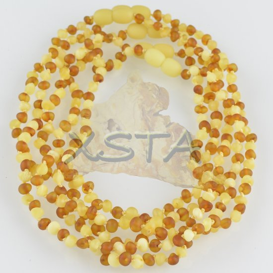Amber necklace raw baroque  cognac matte