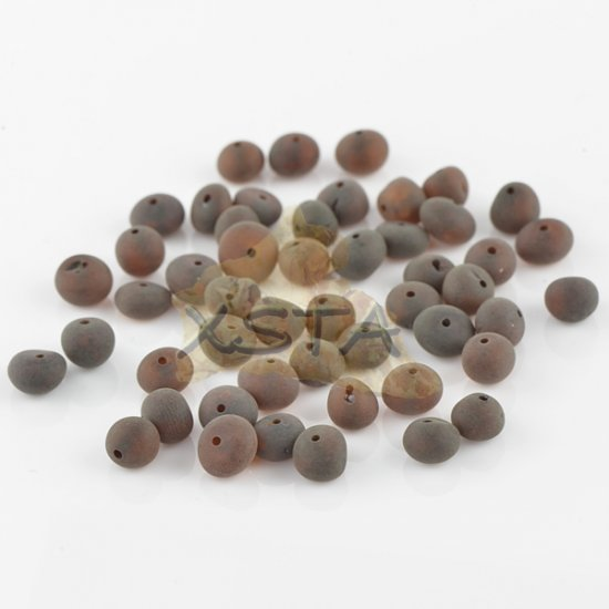 Raw cherry baroque amber beads 6-7 mm