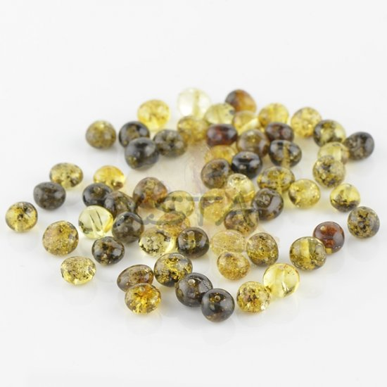 Polished green amber baroque beads 6-7 mm