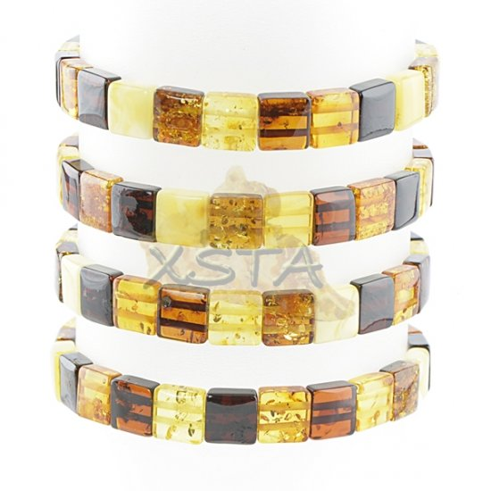 Mix color amber bracelet cube beads