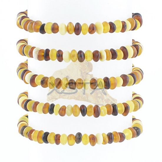 Mix raw amber beads bracelet