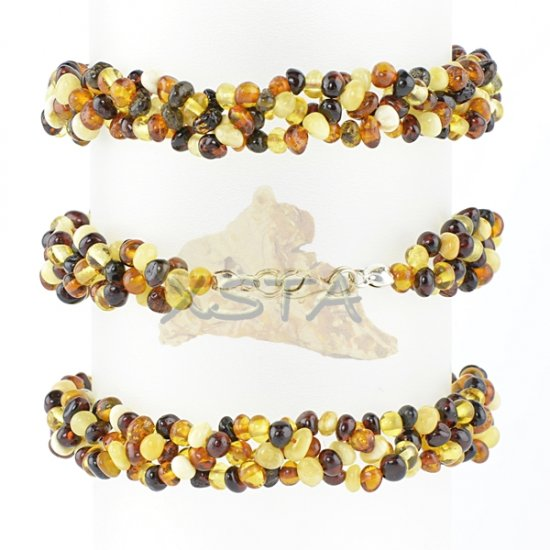 Multicolor amber beads bracelet with silver