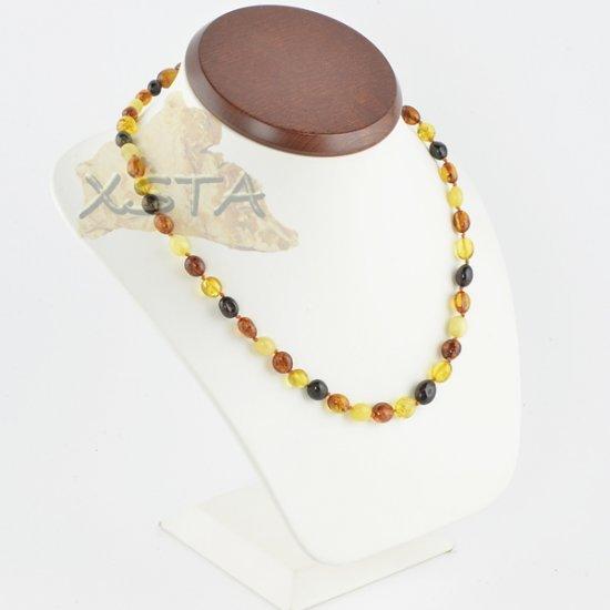 Olive amber necklace polished multicolour