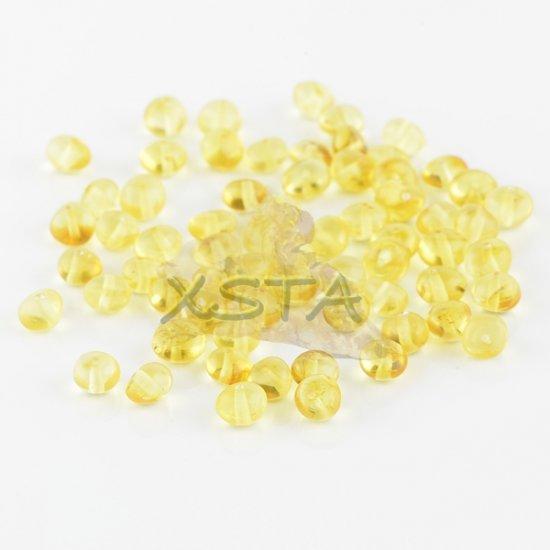 Polished baroque light honey amber beads  4-6 mm