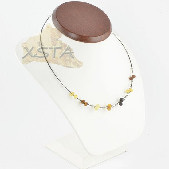 Raw amber necklace baroque with wire
