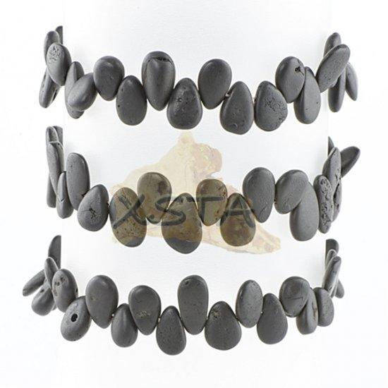 Raw black drop shaped amber bracelet