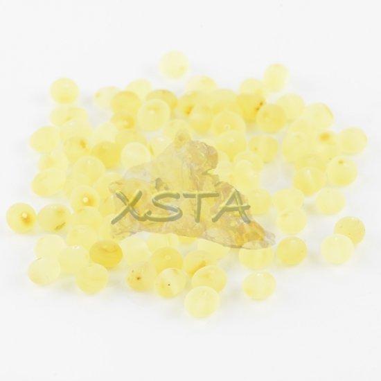 Raw lemon baroque amber beads 4-6 mm