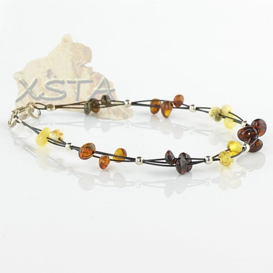 Mix amber bracelet with wire