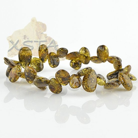 Green drop shaped amber bracelet