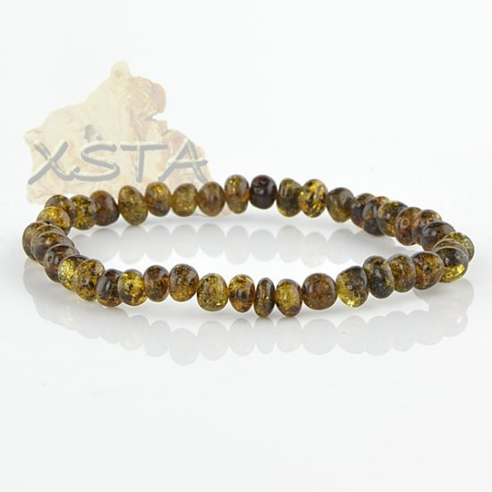Green Amber bracelet baroque