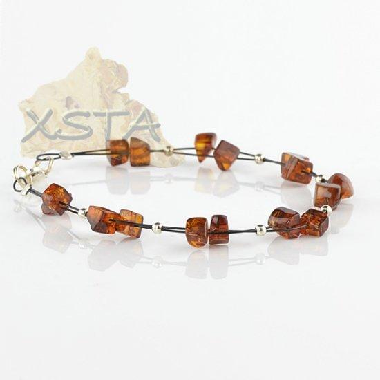 dark cognac amber bracelet with wire
