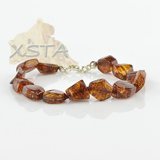 Cherry Baltic amber bracelet with silver