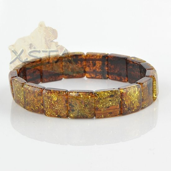 Green Baltic amber bracelet cube style