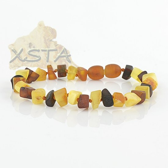 Raw mix amber bracelet with screw clasp