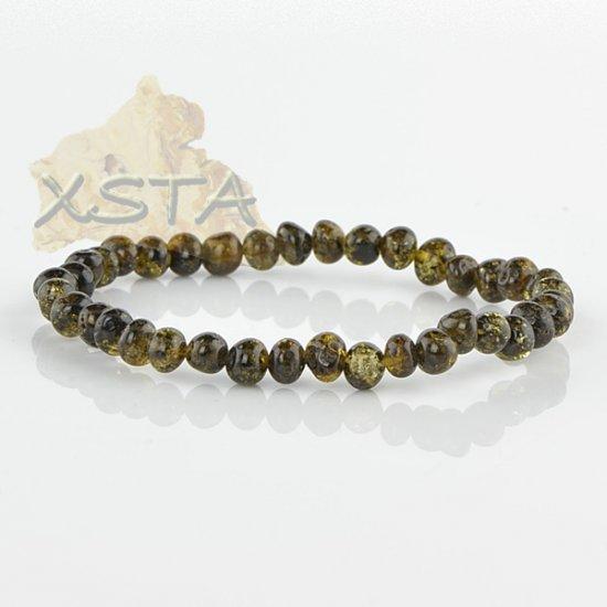 Amber bracelet Green color