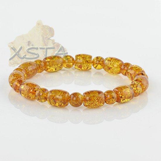 Amber round barrels beads bracelet