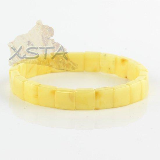 Matt amber bracelet flat cube beads