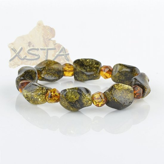 Baltic amber bracelet - green cognac color