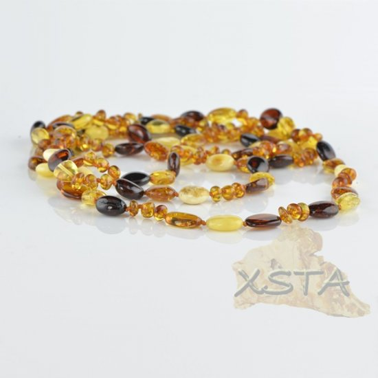 Amber necklace polished multicolour olive mix