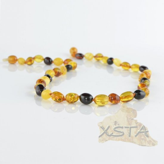 Baltic amber necklace olive polished multicolour