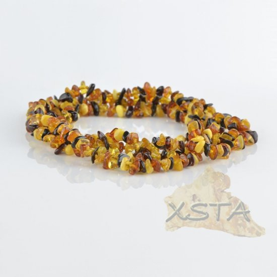 Amber necklace polished multicolour chips