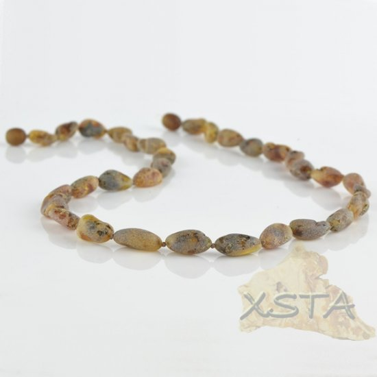 Raw amber necklace olive green
