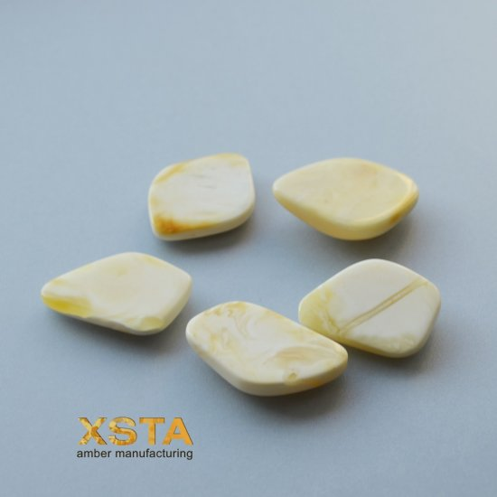 5 units white amber cabochons for ring