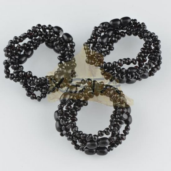 Amber teething bracelet baroque black polished