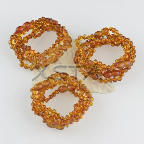 Amber teething bracelet baroque cognac polished