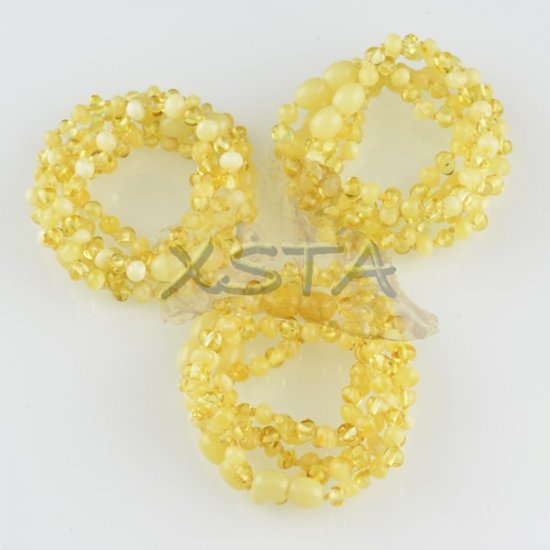 Amber teething bracelet baroque  yellow matte polished